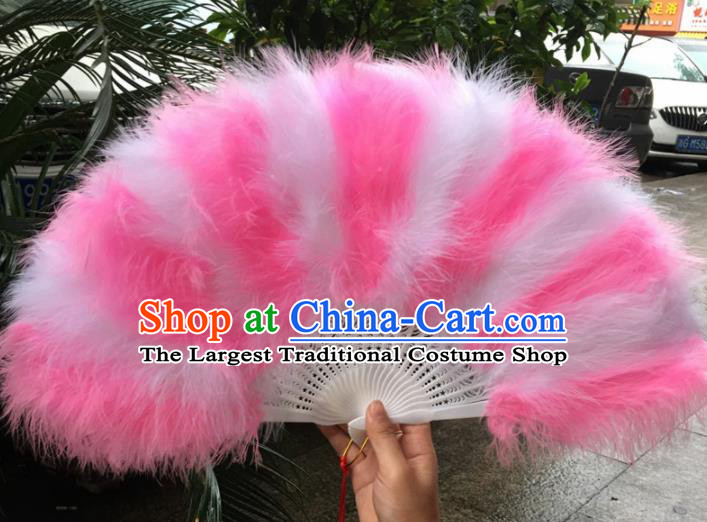Traditional Chinese Crafts Pink Feather Folding Fan China Folk Dance Feather Fans