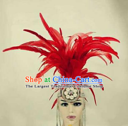 Professional Stage Performance Hair Accessories Brazilian Carnival Cosplay Red Feather Royal Crown for Women