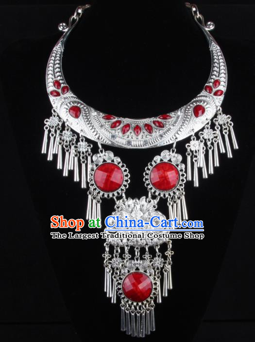 Chinese Traditional Wedding Jewelry Accessories Miao Minority Tassel Necklace for Women