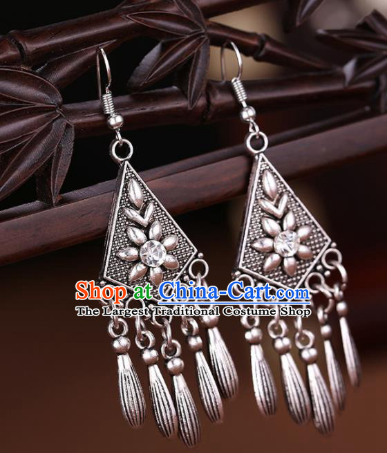 Chinese Traditional Jewelry Accessories Miao Minority Wedding Tassel Earrings for Women