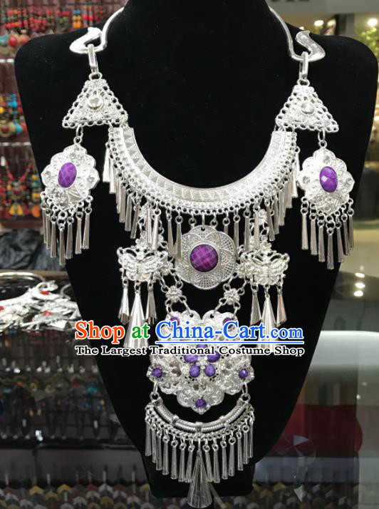 Chinese Traditional Jewelry Accessories Miao Minority Wedding Tassel Purple Necklace for Women