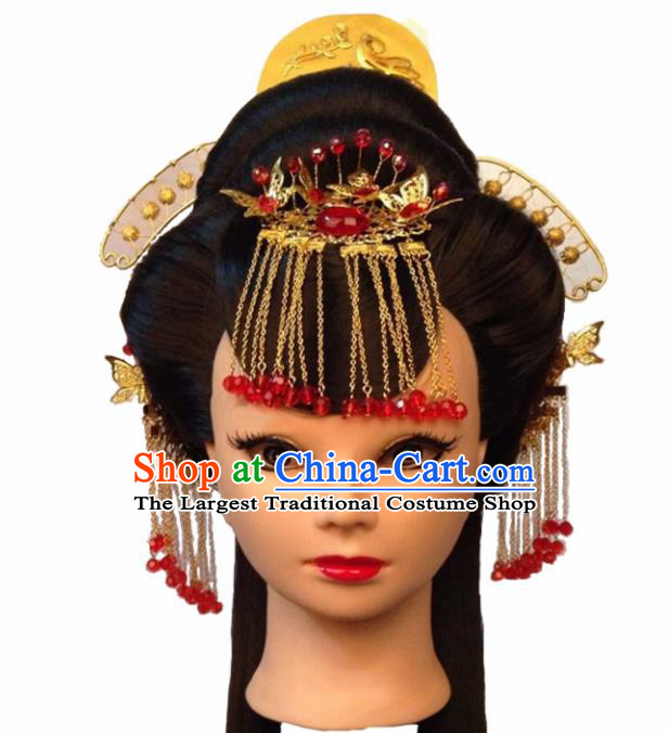 Chinese Ancient Imperial Consort Hair Accessories Beijing Opera Palace Lady Hairpins and Wigs for Women