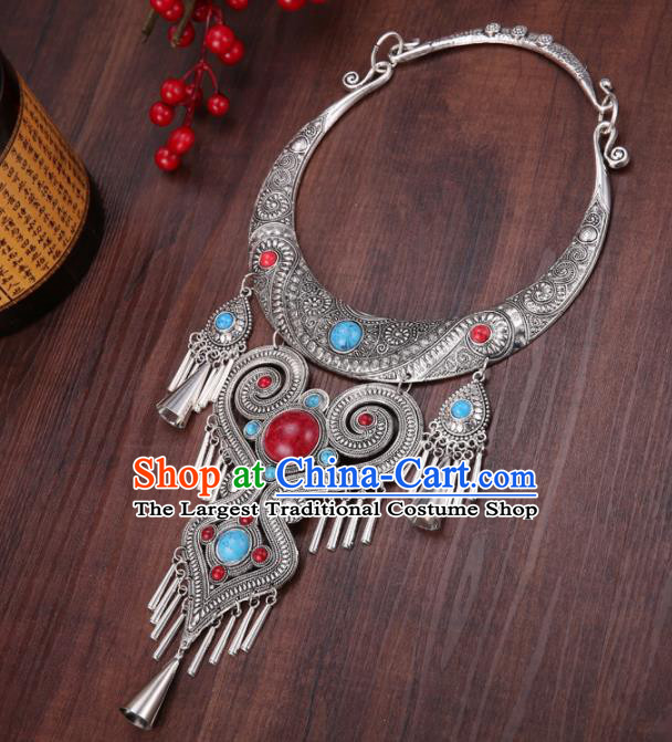 Chinese Traditional Jewelry Accessories Miao Minority Wedding Carving Necklace for Women