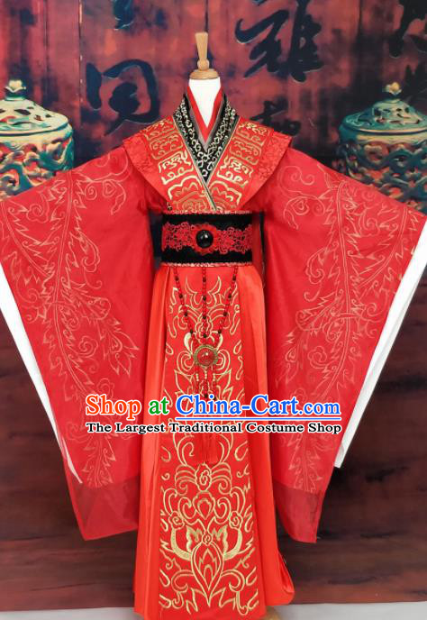 Chinese Han Dynasty Queen Wedding Embroidered Costume Ancient Empress Red Hanfu Dress for Women