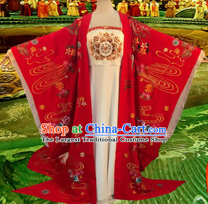 Chinese Tang Dynasty Imperial Consort Yang Embroidered Costume Ancient Empress Red Hanfu Dress for Women