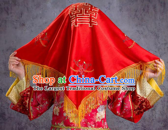 Chinese Ancient Bride Hair Accessories Wedding Red Veil Cover for Women