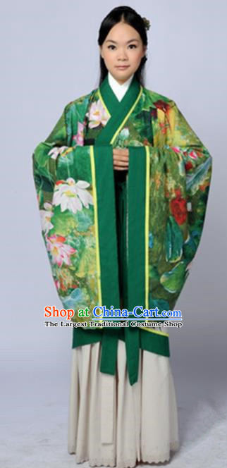 Chinese Traditional Han Dynasty Princess Printing Lotus Green Hanfu Dress Ancient Maidenform Costumes for Women