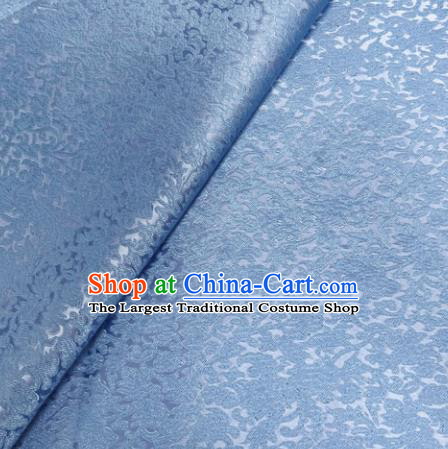 Chinese Traditional Silk Fabric Cheongsam Tang Suit Blue Brocade Cloth Drapery