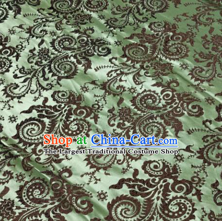 Chinese Traditional Silk Fabric Cheongsam Tang Suit Pattern Green Brocade Cloth Drapery