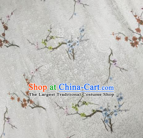 Chinese Traditional Silk Fabric Cheongsam Tang Suit Plum Blossom Pattern White Brocade Cloth Drapery