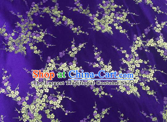 Chinese Traditional Purple Silk Fabric Cheongsam Tang Suit Brocade Plum Blossom Pattern Cloth Material Drapery
