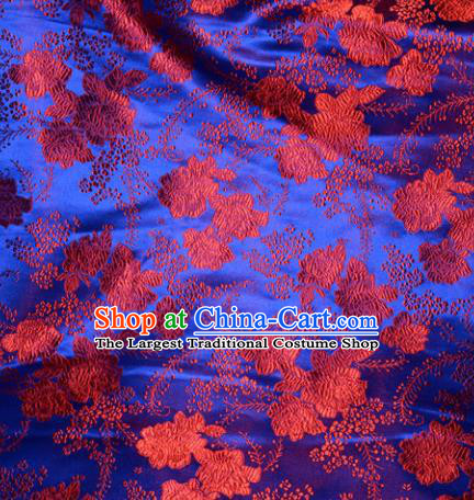 Chinese Traditional Royalblue Silk Fabric Cheongsam Tang Suit Brocade Peony Pattern Cloth Material Drapery
