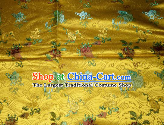 Chinese Traditional Yellow Silk Fabric Cheongsam Tang Suit Brocade Fishes Pattern Cloth Material Drapery
