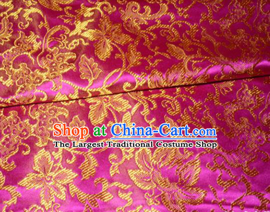 Chinese Traditional Rosy Silk Fabric Cheongsam Tang Suit Brocade Palace Pattern Cloth Material Drapery