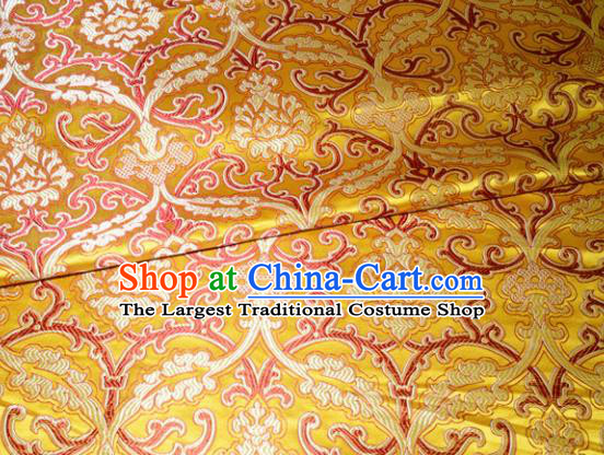 Chinese Traditional Yellow Silk Fabric Cheongsam Tang Suit Brocade Palace Pattern Cloth Material Drapery