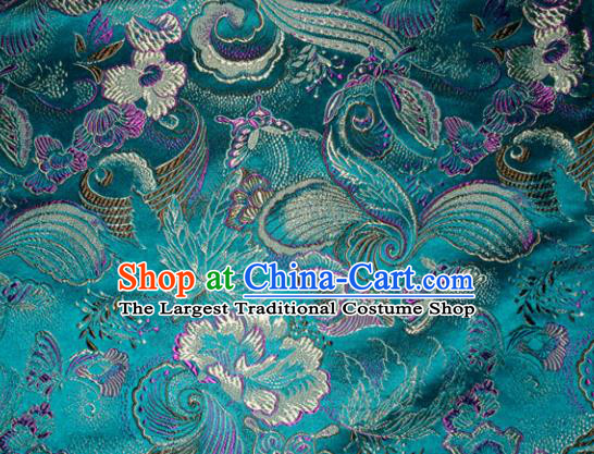 Chinese Traditional Green Silk Fabric Cheongsam Tang Suit Brocade Palace Pattern Cloth Material Drapery