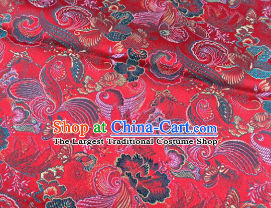 Chinese Traditional Red Silk Fabric Cheongsam Tang Suit Brocade Palace Pattern Cloth Material Drapery