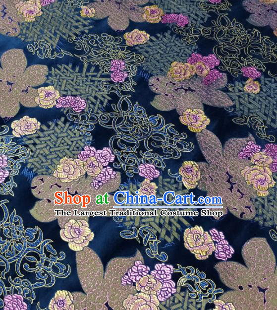 Chinese Traditional Silk Fabric Cheongsam Tang Suit Flowers Pattern Navy Brocade Cloth Drapery