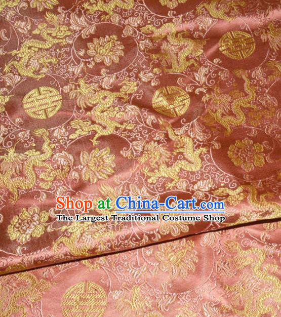 Chinese Traditional Pink Silk Fabric Cheongsam Tang Suit Brocade Palace Dragon Pattern Cloth Material Drapery