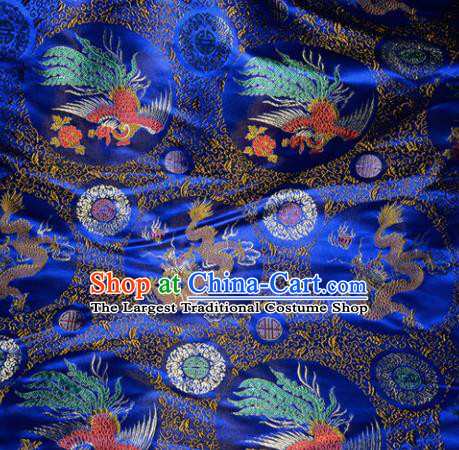 Chinese Traditional Royalblue Silk Fabric Tang Suit Brocade Dragon and Phoenix Pattern Cloth Material Drapery