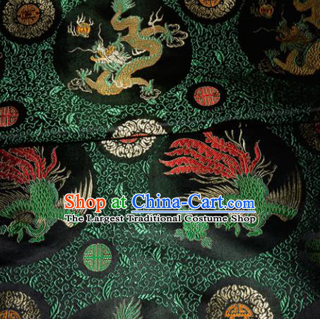 Chinese Traditional Black Silk Fabric Tang Suit Brocade Dragon and Phoenix Pattern Cloth Material Drapery