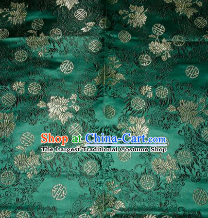 Chinese Traditional Green Silk Fabric Tang Suit Brocade Cheongsam Flowers Pattern Cloth Material Drapery
