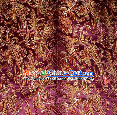 Chinese Traditional Purple Silk Fabric Tang Suit Brocade Cheongsam Palace Pattern Cloth Material Drapery