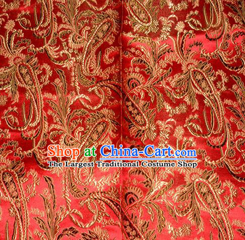 Chinese Traditional Red Silk Fabric Tang Suit Brocade Cheongsam Palace Pattern Cloth Material Drapery