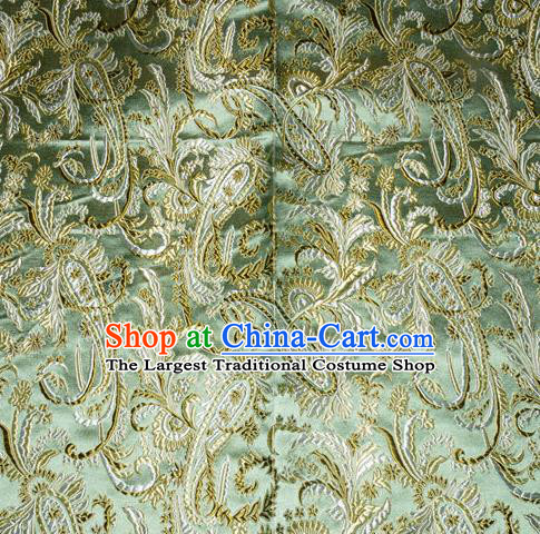 Chinese Traditional Green Silk Fabric Tang Suit Brocade Cheongsam Palace Pattern Cloth Material Drapery