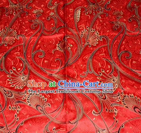 Chinese Traditional Red Silk Fabric Tang Suit Brocade Cheongsam Peacock Tail Pattern Cloth Material Drapery