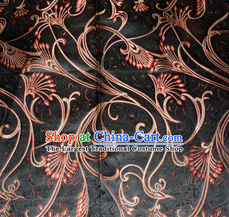 Chinese Traditional Black Silk Fabric Tang Suit Brocade Cheongsam Peacock Tail Pattern Cloth Material Drapery
