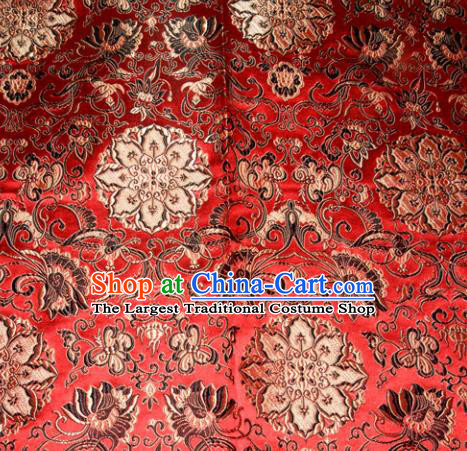 Chinese Traditional Silk Fabric Tang Suit Red Brocade Cheongsam Palace Pattern Cloth Material Drapery