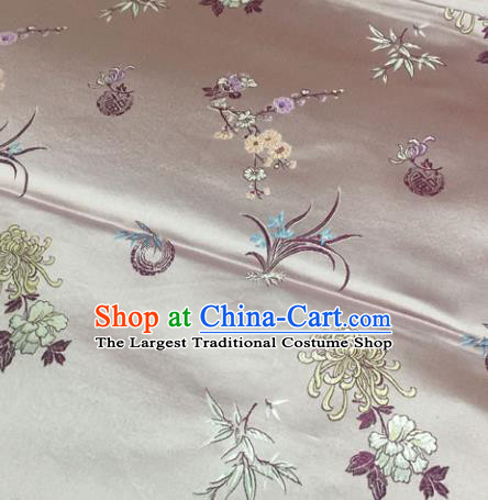 Chinese Traditional Silk Fabric Tang Suit Pink Brocade Cheongsam Plum Blossom Orchid Bamboo and Chrysanthemum Pattern Cloth Material Drapery