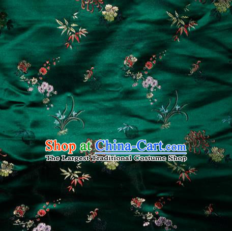 Chinese Traditional Silk Fabric Tang Suit Green Brocade Cheongsam Plum Blossom Orchid Bamboo and Chrysanthemum Pattern Cloth Material Drapery