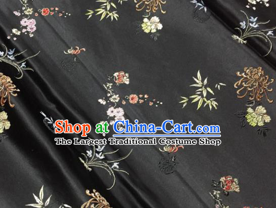 Chinese Traditional Silk Fabric Tang Suit Black Brocade Cheongsam Plum Blossom Orchid Bamboo and Chrysanthemum Pattern Cloth Material Drapery