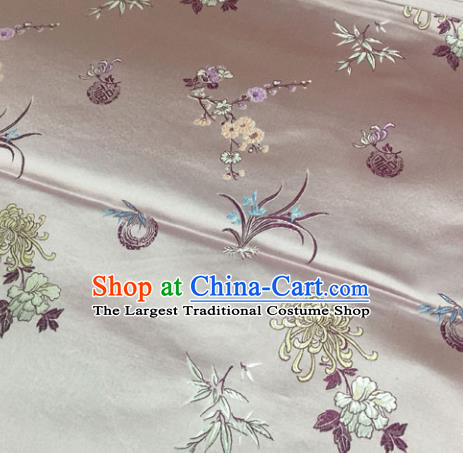 Chinese Traditional Silk Fabric Cheongsam Tang Suit Plum Blossom Orchid Bamboo and Chrysanthemum Pattern Brocade Cloth Drapery