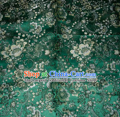 Chinese Traditional Silk Fabric Tang Suit Green Brocade Cheongsam Classical Pattern Cloth Material Drapery