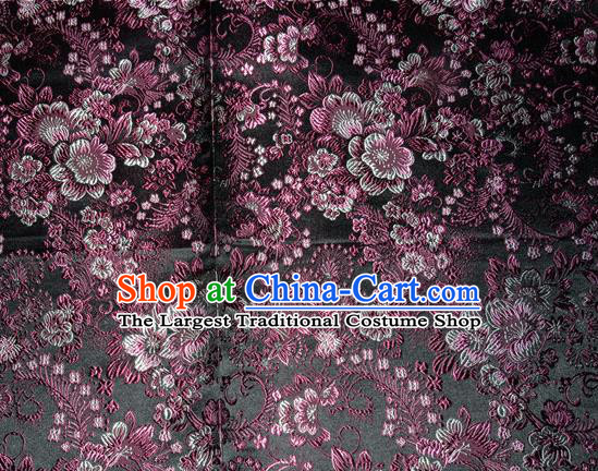 Chinese Traditional Silk Fabric Tang Suit Black Brocade Cheongsam Classical Purple Pattern Cloth Material Drapery