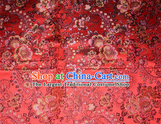 Chinese Traditional Red Silk Fabric Tang Suit Brocade Cheongsam Classical Pattern Cloth Material Drapery