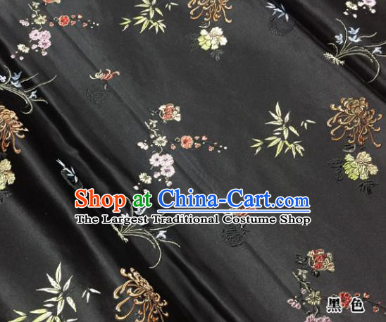 Chinese Traditional Black Silk Fabric Cheongsam Tang Suit Plum Blossom Orchid Bamboo and Chrysanthemum Pattern Brocade Cloth Drapery