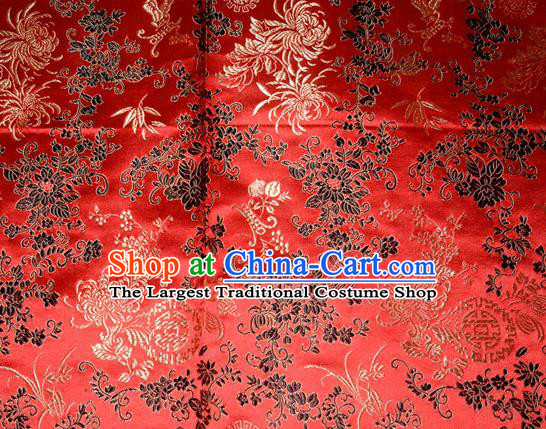 Chrysanthemum Pattern Chinese Traditional Red Silk Fabric Tang Suit Brocade Cloth Cheongsam Material Drapery