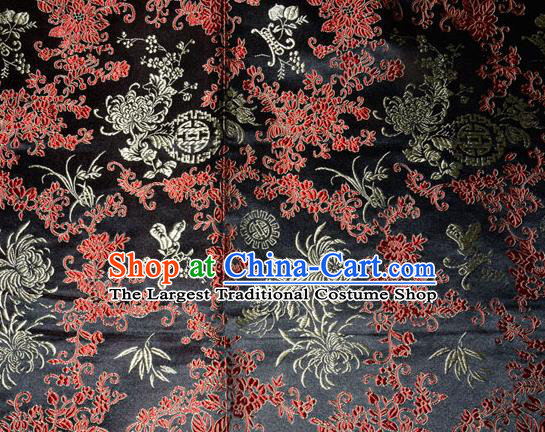 Chrysanthemum Pattern Chinese Traditional Black Silk Fabric Tang Suit Brocade Cloth Cheongsam Material Drapery