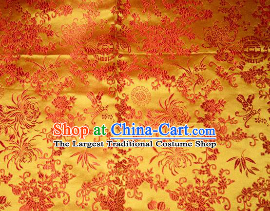 Chrysanthemum Pattern Chinese Traditional Yellow Silk Fabric Tang Suit Brocade Cloth Cheongsam Material Drapery
