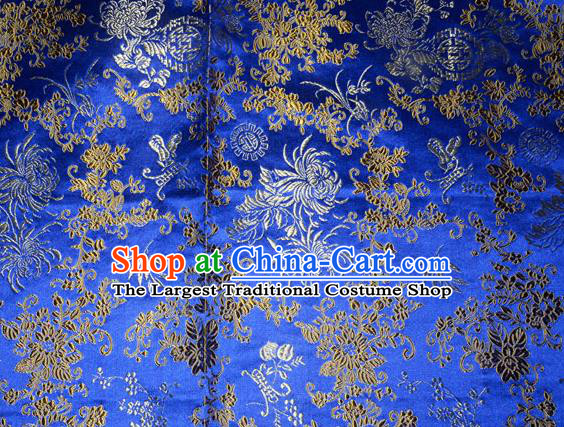 Chrysanthemum Pattern Chinese Traditional Royalblue Silk Fabric Tang Suit Brocade Cloth Cheongsam Material Drapery