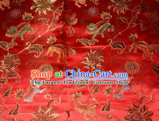 Kylin Pattern Chinese Traditional Red Silk Fabric Tang Suit Brocade Cloth Cheongsam Material Drapery