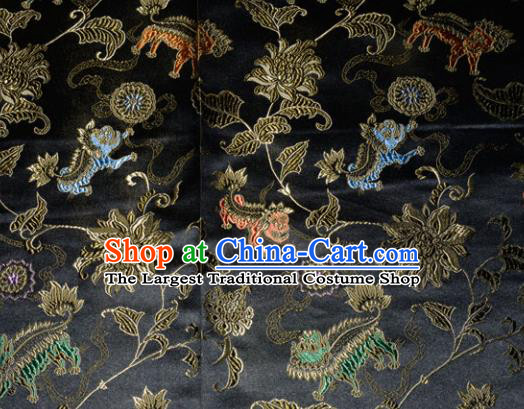 Kylin Pattern Chinese Traditional Black Silk Fabric Tang Suit Brocade Cloth Cheongsam Material Drapery