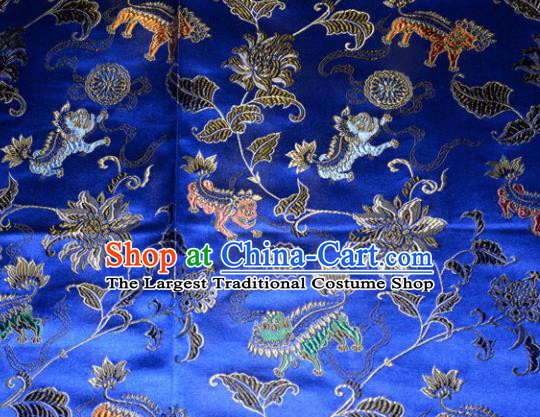 Kylin Pattern Chinese Traditional Royalblue Silk Fabric Tang Suit Brocade Cloth Cheongsam Material Drapery