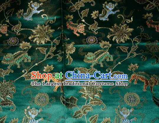 Kylin Pattern Chinese Traditional Green Silk Fabric Tang Suit Brocade Cloth Cheongsam Material Drapery