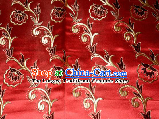 Chinese Traditional Silk Fabric Tang Suit Red Brocade Cloth Cheongsam Material Drapery