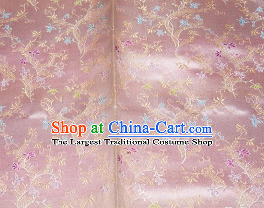 Chinese Traditional Silk Fabric Poplar Blossom Pattern Tang Suit Pink Brocade Cloth Cheongsam Material Drapery